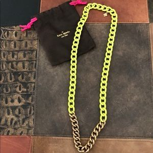 kate spade neon green and gold chain necklace